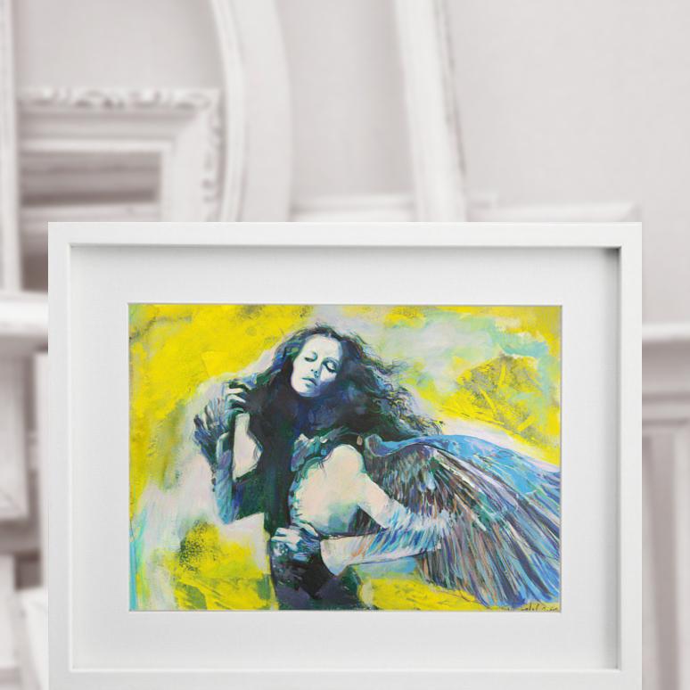 Sen anioła 240915b, technika mieszana na kartonie 30x40cm 300g/m²
