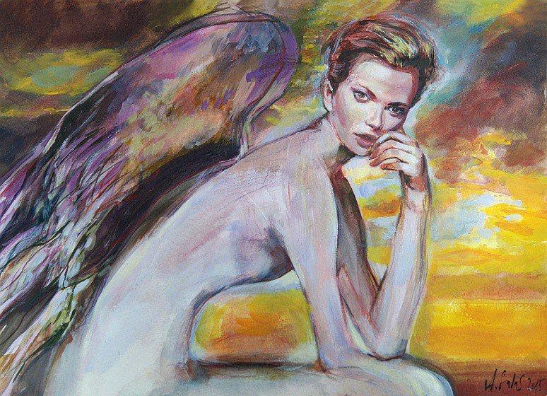 Siedzący anioł 150915, technika mieszana na kartonie 30x40cm 300g/m²