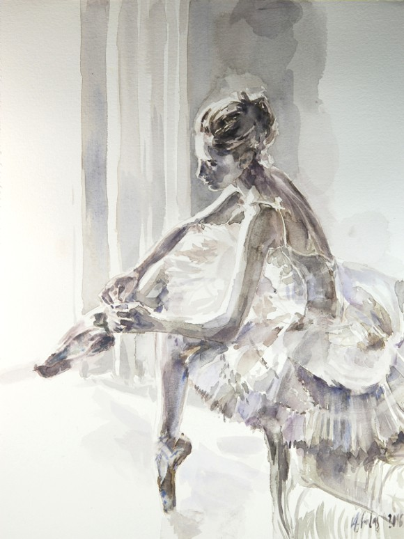 Baletnica 220216, akwarela na kartonie 30x40cm 300g/m²