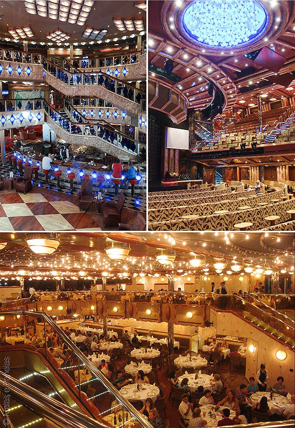 Costa Favolosa Átrio, teatro e restaurante principal