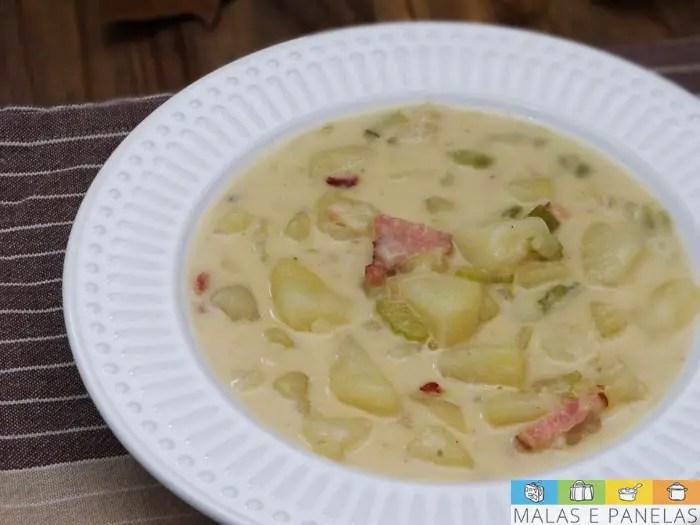 Sopa cremosa batata e bacon