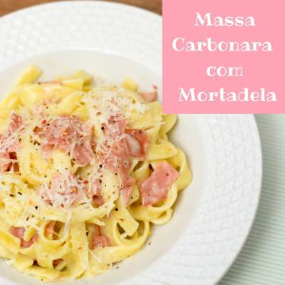 Massa Carbonara com Mortadela