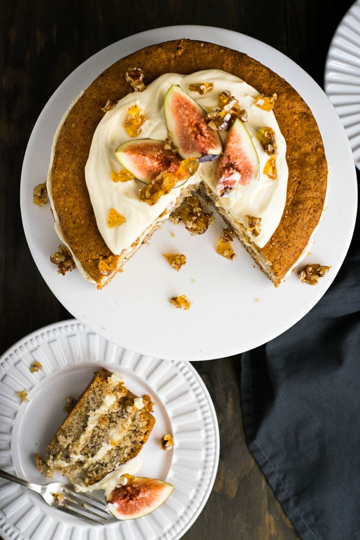 Fig, Pecan and Maple Cream Cheese Cake | Travel Cook Tell