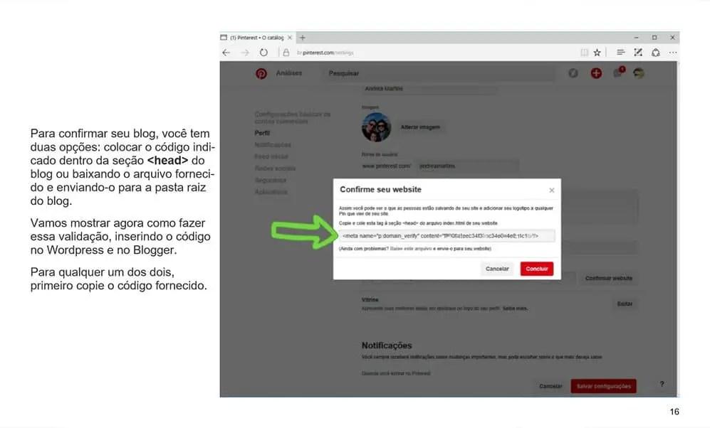 como validar o pinterest no blog