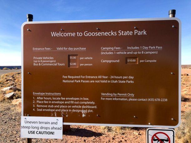Entrada do Goosenecks State Park