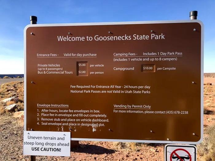 Entrada do Goosenecks State Park