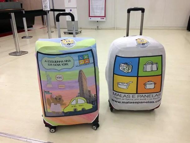 malas de viagem com capa