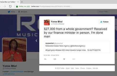 Third Eye raps Malawi finance Minister