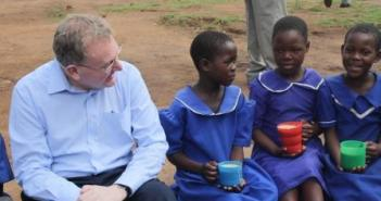 Secretary of State Mundell with pupils from Phuti Primary School on his recent visit to Malawi