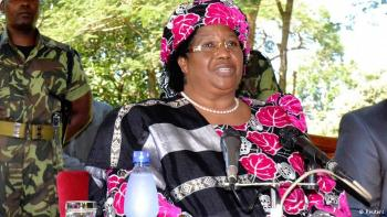 Joyce Banda with another landmark.