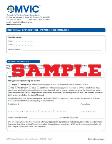 application to get omvic licence