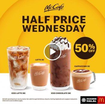 Pilihan minuman McDonald's McCafe dengan DISKAUN 50% pada hari Rabu