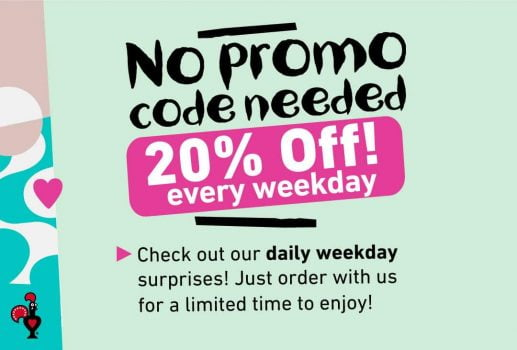 Nando's Extra dengan potongan 20% untuk kejutan setiap hari minggu!