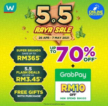Watsons Online 5.5 Jualan Raya Diskaun 70%