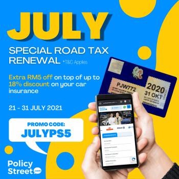 PolicyStreet Pembaharuan Cukai Jalan Lebih RM5 Diskaun Kod Promosi