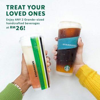 Minuman buatan tangan Starbucks 2 bersaiz Grande pada harga RM26
