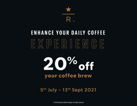 Potongan Starbucks 20% untuk Reserve Coffee Brew