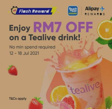 Minuman Tealive Diskaun RM7 Tambahan dengan Ganjaran Alipay +