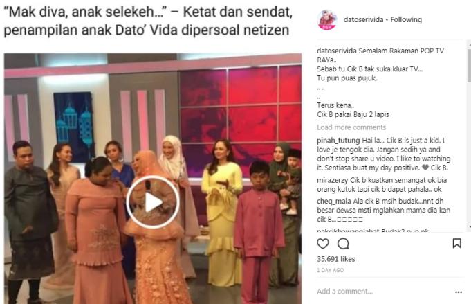 Video menunjukkan Datuk Vida dan anaknya serta beberapa artis termasuk Nora Danish sedang menari lagu raya yang dinyanyikan Vida iaitu Lavida Raya.