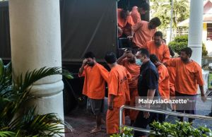 Eight suspects including the father who raped and forced his daughter and wife into prostitution are brought to the Bandar Baru Bangi Magistrate Court in Selangor for the application of a new remand order under ATIPSOM. PIX: MOHD ADZLAN / MalaysiaGazette / 25 JULY 2020. sexual drive sexual exploitation