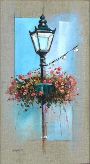 Flowers on street lamp