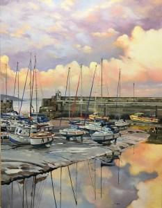 saundersfoot harbour mornings oil painting