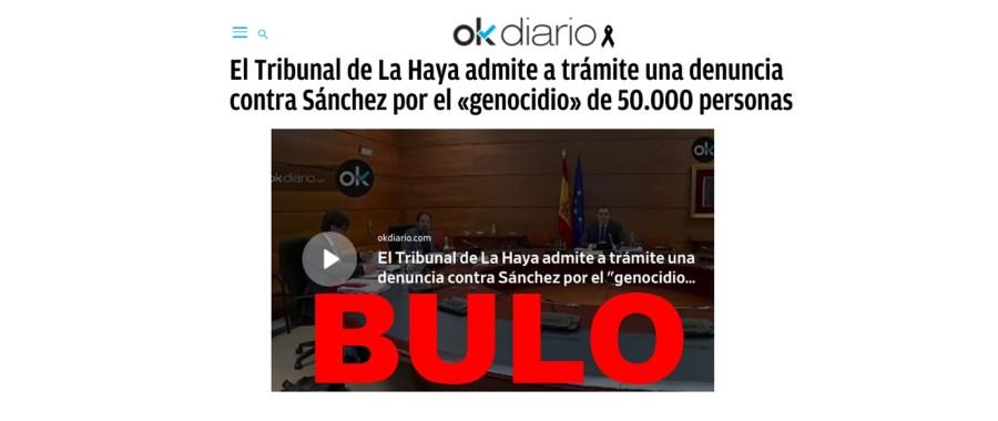 No, el Tribunal de La Haya no ha admitido a trámite una denuncia ...