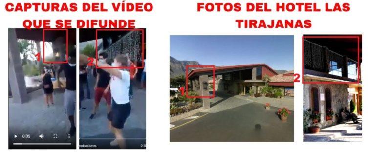 Comparación de dos fragmentos del vídeo y una foto del Hotel Las Tirajanas.