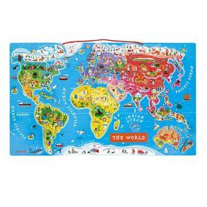 drvena igračka karta svijeta s magentima