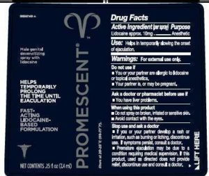 label of Promescent Spray