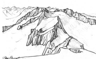 Esbós a partir d'una imatge de la travessa, des del cim de la Maleïda