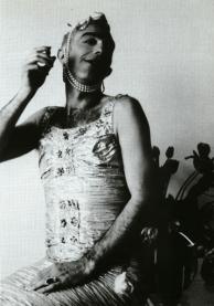 Derek Jarman as Miss Crêpe Suzette, winner of the Alternative Miss World Contest, 1975