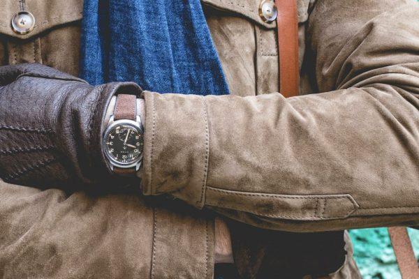 bracelet montre cuir velours marron dt