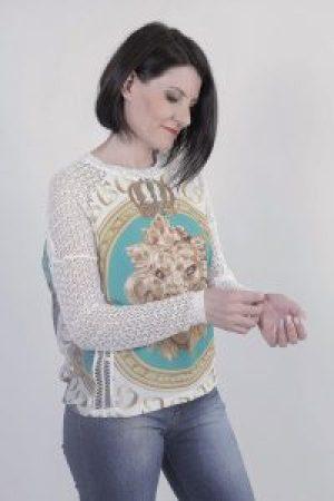 Blusa Branca com turquesa e dourado CS