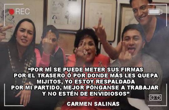 Más de 66 mil firmas para quitar diputación a Carmen Salinas