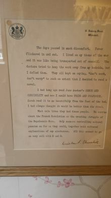 A letter from former British Prime Minister Winston Churchill in which he discusses how much he enjoys Jane's novels