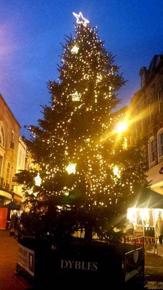 The Christmas Tree display on the main street of Winchester