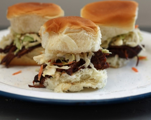 stout braised grass-fed beef sliders + ginger slaw