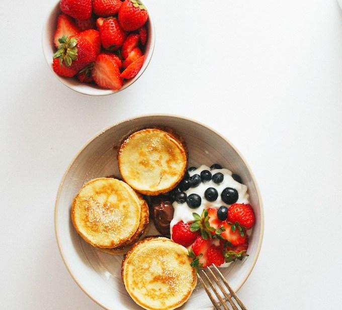 swedish mini-pancakes + berries