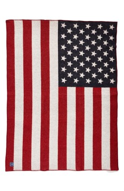 Faribault Woolen Mill 'American Flag' Wool & Cotton Throw