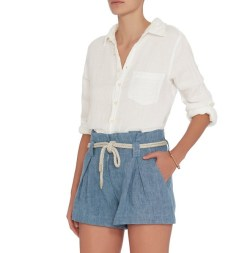 L 'Agence Denim Paperbag Waist Womens Shorts