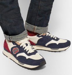 Visvim Roland Embroidered Suede and Mesh Mens Sneakers