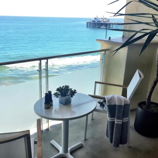 Malibu Beach Inn – View from Beachfront Hotel Room Balcony of the Malibu Pier