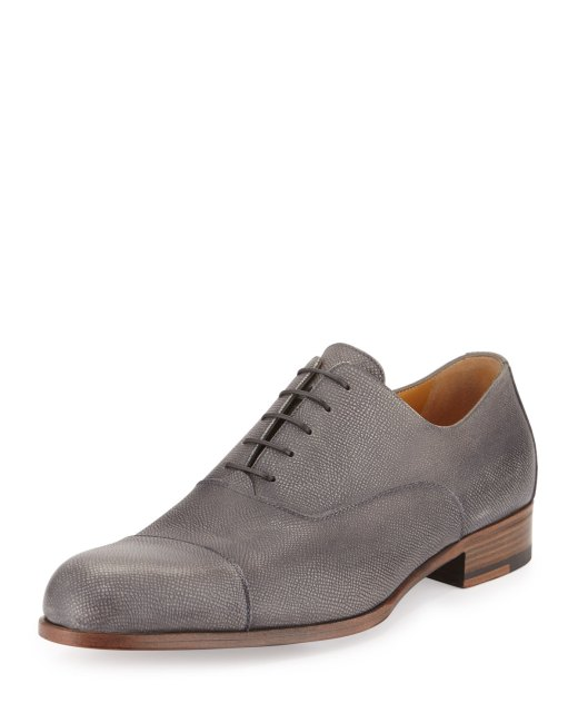 A.Testoni Grained Leather Pearl Lace-Up Derby Mens Shoes