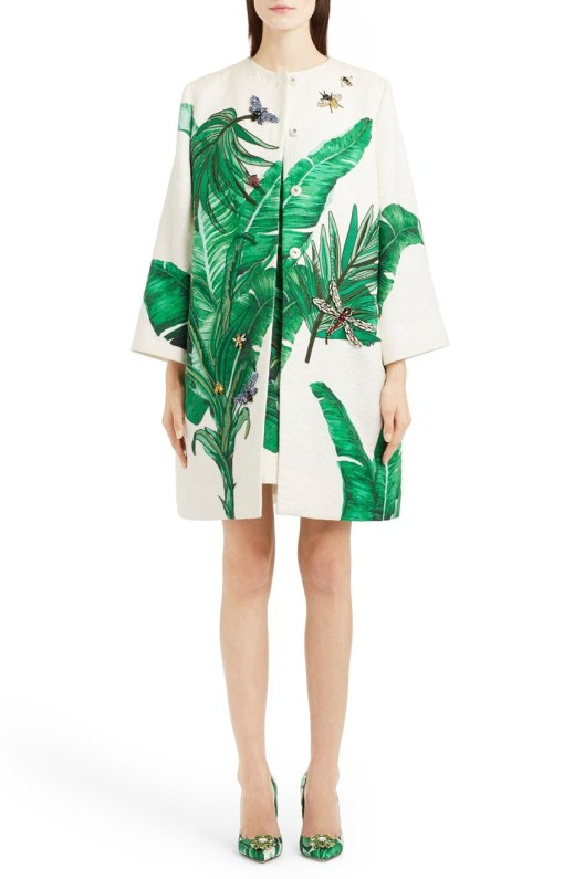 Dolce & Gabbana Crystal Embellished Banana Leaf Print Brocade Topper Coat