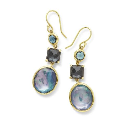 Ippolita 18K Rock Candy 3-Stone Midnight Rain Drop Earrings