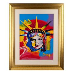 Peter Max 'Liberty Head' 2001 Original Acrylic Painting with Serigraph