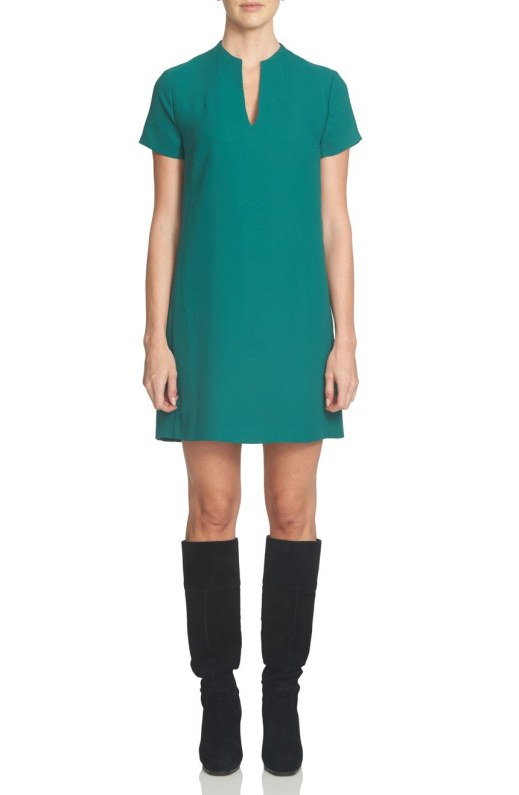1.STATE Split Neck Shift Dress