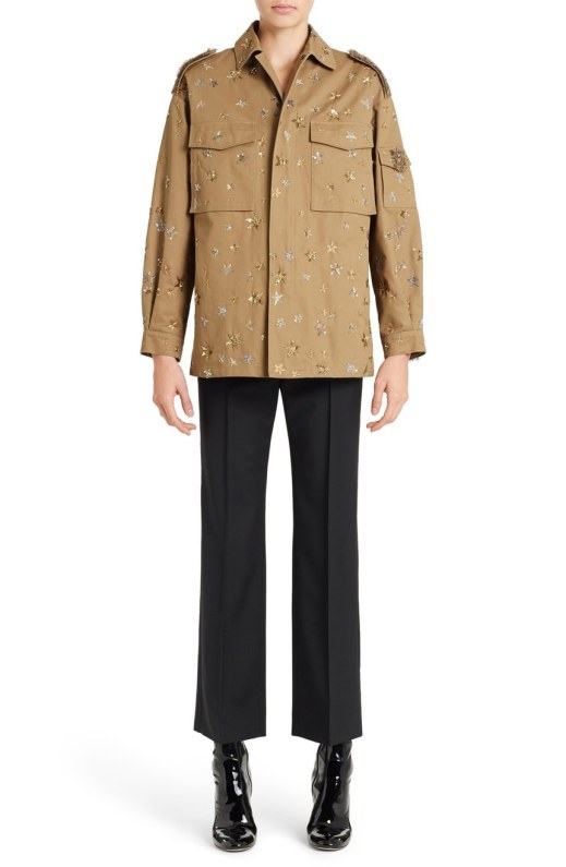 Valentino Star Embroidered Womens Military Jacket