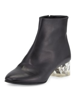 Alexander McQueen Black Leather Skull-Heel Ankle Boot